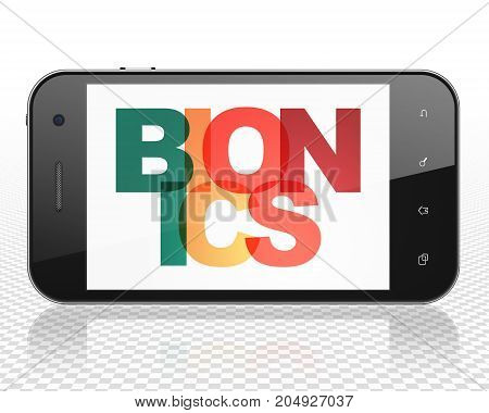 Science concept: Smartphone with Painted multicolor text Bionics on display, 3D rendering