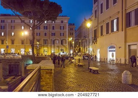 Nightlife In Largo Di Torre Argentina In Rome