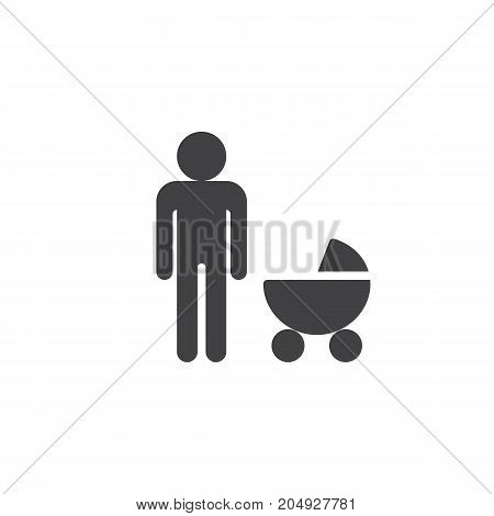 Father with baby stroller icon vector, filled flat sign, solid pictogram isolated on white. Family symbol, logo illustration