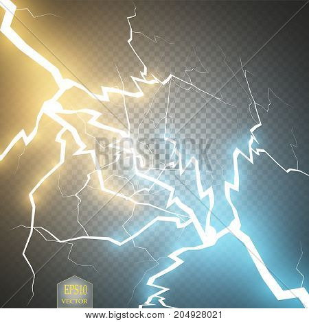 Collision of two forces with gold and blue light. Vector illustration. Hot and cold sparkling power. Energy lightning with electric discharge isolated on transparent background. Vector