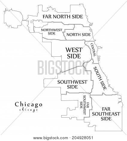 Modern City Map - Chicago City Of The Usa With Boroughs And Titles Outline Map