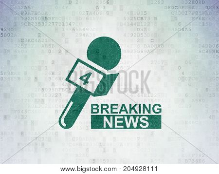 News concept: Painted green Breaking News And Microphone icon on Digital Data Paper background