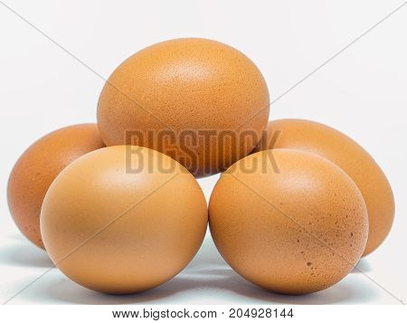 Closeup Egg chicken healthy food isolated on white background.