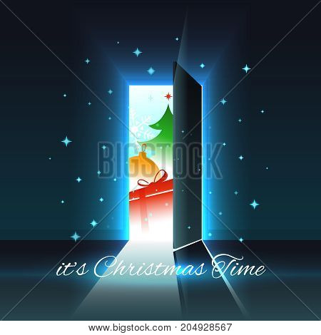 Christmas festive wonders in an open glowing door. Christmas and New Year greeting card, vector illustration with well organized layers