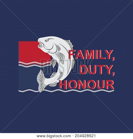 Fish on the waves with text.  Background dark blue. Emblem, badge. Design for printing on fabric or paper