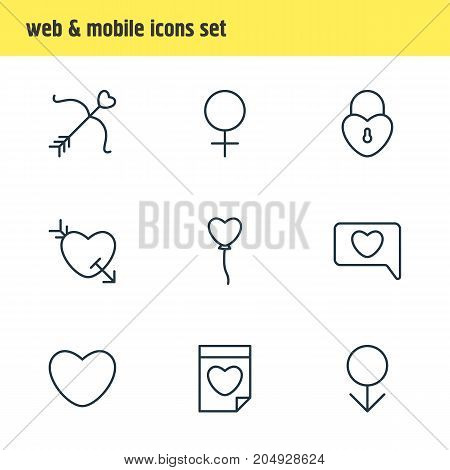 Editable Pack Of Arrow, Male, Decoration And Other Elements.  Vector Illustration Of 9 Passion Icons.