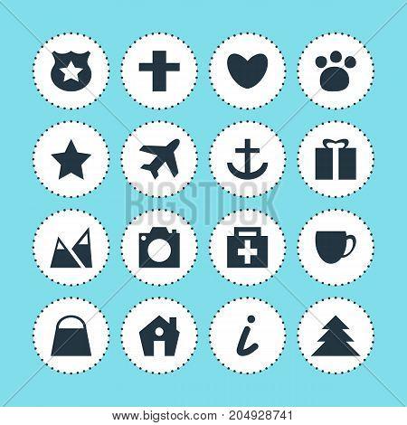 Editable Pack Of Handbag, Aircraft, Bookmark Elements.  Vector Illustration Of 16 Travel Icons.
