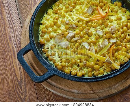 Coconut Chickpea Korma - Indian foods  close up