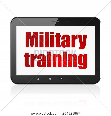 Learning concept: Tablet Computer with  red text Military Training on display,  Tag Cloud background, 3D rendering