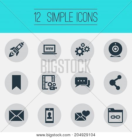 Elements Comment, Post, Profile And Other Synonyms Post, Bookmark And Gear.  Vector Illustration Set Of Simple Newspaper Icons.