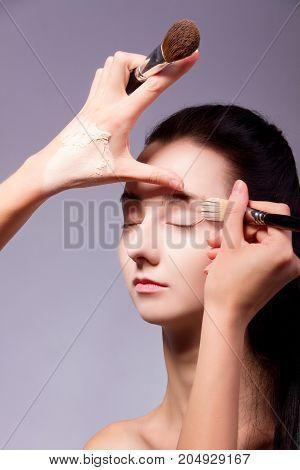 Backstage. Makeup Process With Makeup Tools