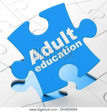 Learning concept: Adult Education on Blue puzzle pieces background, 3D rendering