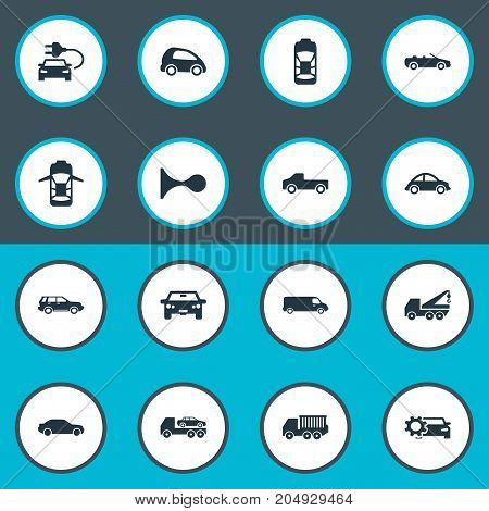 Elements Coupe, Automotive, Faucet And Other Synonyms Oval, Road And Motor.  Vector Illustration Set Of Simple Transport Icons.
