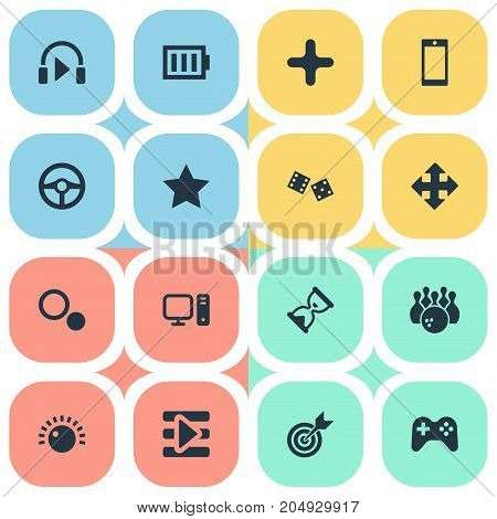 Elements Kegling, Board, Sound And Other Synonyms Sky, Play And Bowling.  Vector Illustration Set Of Simple Game Icons.