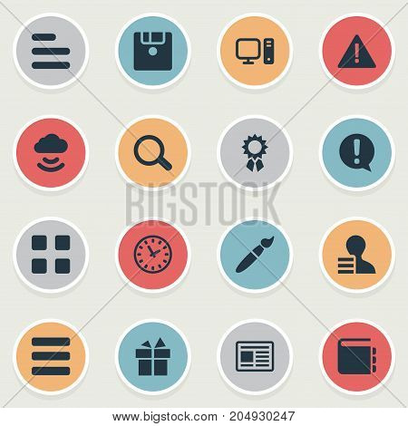 Elements Notepad, Winner, Menu And Other Synonyms Tab, PC And Magnifier.  Vector Illustration Set Of Simple Web Icons.