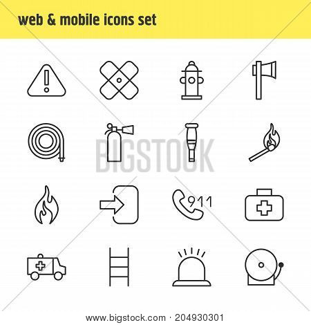 Editable Pack Of Safety, Exclamation, First-Aid And Other Elements.  Vector Illustration Of 16 Extra Icons.