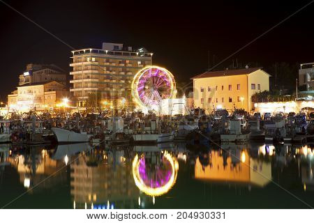 Ferris wheel on the waterfront in Cattolica town from Italy