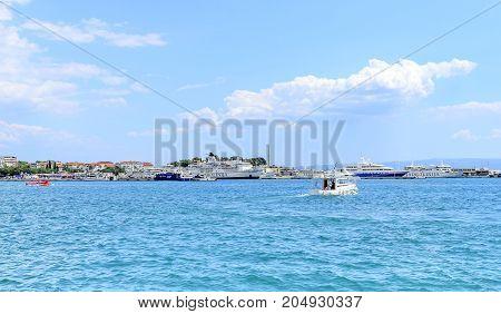 SPLIT, CROATIA - 13 JULY, 2017: Ship enters the port of Split Croatia
