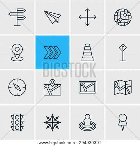 Editable Pack Of World, Marker, Direction And Other Elements.  Vector Illustration Of 16 Navigation Icons.