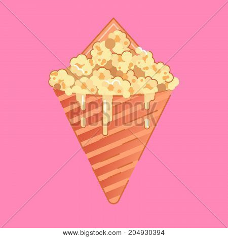 Caramel Corn made of popcorn coated with a caramelized brown candy shell.
