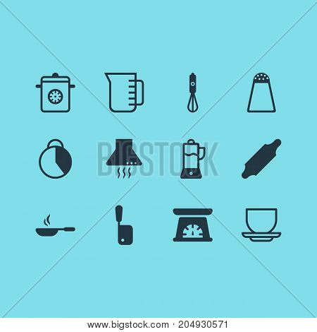 Editable Pack Of Frying Pan, Butcher Knife, Fruit Squeezer And Other Elements.  Vector Illustration Of 12 Kitchenware Icons.