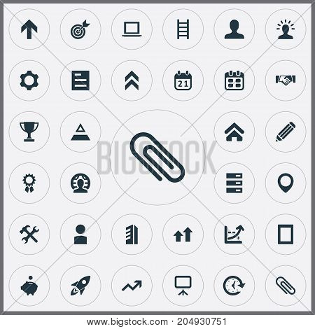 Elements Presentation, Member, Client And Other Synonyms Handshake, Construction And List.  Vector Illustration Set Of Simple Teamwork Icons.