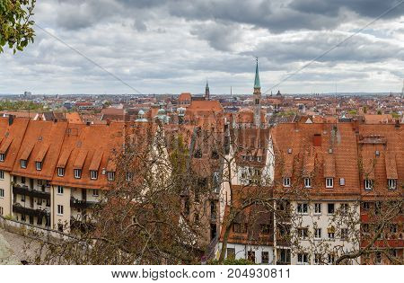 View of Nuremberg historic center from castle wall Germany
