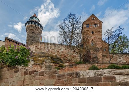 View of Nuremberg castle with Walburgiskapelle and Sinwell Tower Germany
