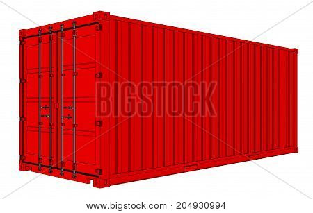 Vector of red cargo container. Transportation template. Vector rendering of 3d