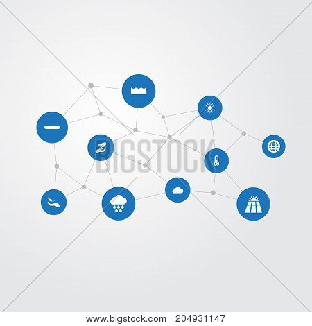 Elements Fahrenheit, Sun Power, Soil And Other Synonyms Protection, Growth And Photocell.  Vector Illustration Set Of Simple Energy Icons.
