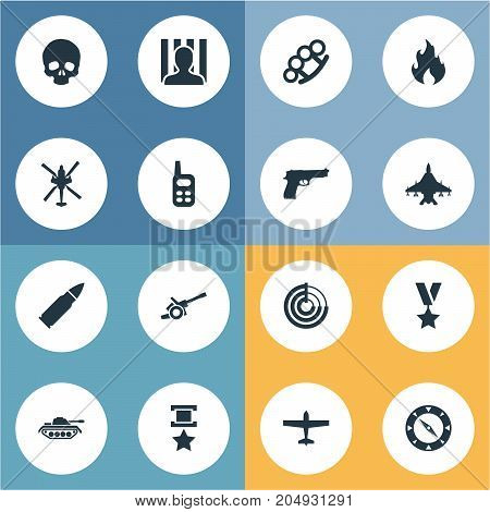 Elements Compass, Walkie-Talkie, Poison And Other Synonyms Grenade, Transport And Convict.  Vector Illustration Set Of Simple War Icons.