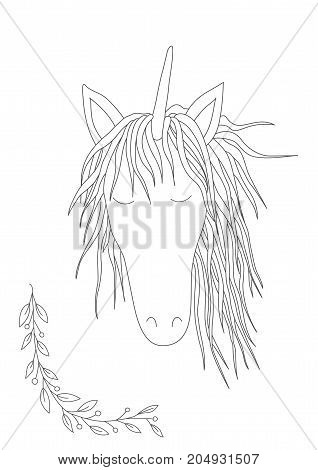 Cute unicorn, handdrawn vector illustration.  Antistress coloring book. Hand drawn elements for your designs dress, poster, card, t-shirt.
