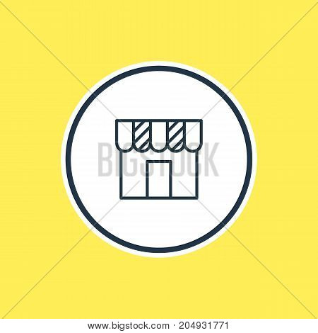 Beautiful Advertising Element Also Can Be Used As Shop Element.  Vector Illustration Of Store Outline.