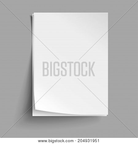 Vector White sheets of paper. Realistic empty paper note templates of A4 format with soft shadows isolated on grey background