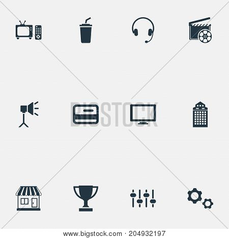 Elements Broadcasting, Trophy, Structure And Other Synonyms Soda, Mechanism And Display.  Vector Illustration Set Of Simple Movie Icons.