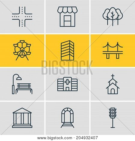 Editable Pack Of Golden Gate, Courthouse, Bench And Other Elements.  Vector Illustration Of 12 City Icons.