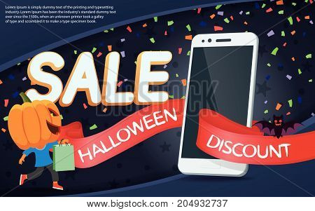 Halloween sale banners. Great autumn discounts. Smartphone, bright ribbon and confetti. Banner with gray background. Man with a pumpkin head vector flat illustration. Funny halloween personage.