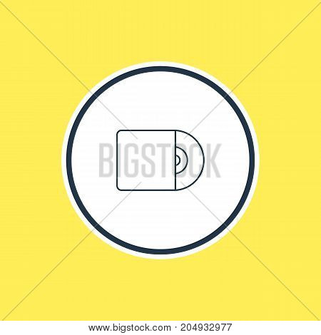 Beautiful Melody Element Also Can Be Used As Compact Disk Element.  Vector Illustration Of Cd Outline.