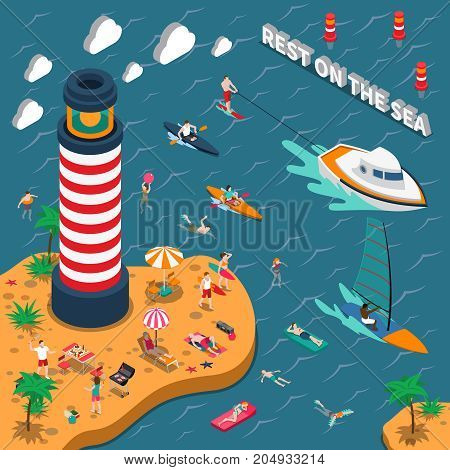 Colored water sports isometric people poster with rest on the sea descriptions vector illustration