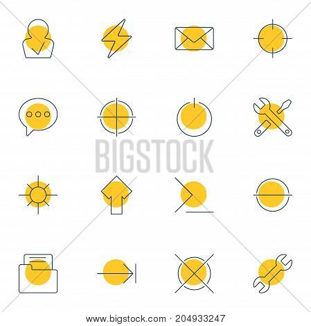 Editable Pack Of Tabulation Button, Dossier, Message And Other Elements.  Vector Illustration Of 16 Interface Icons.