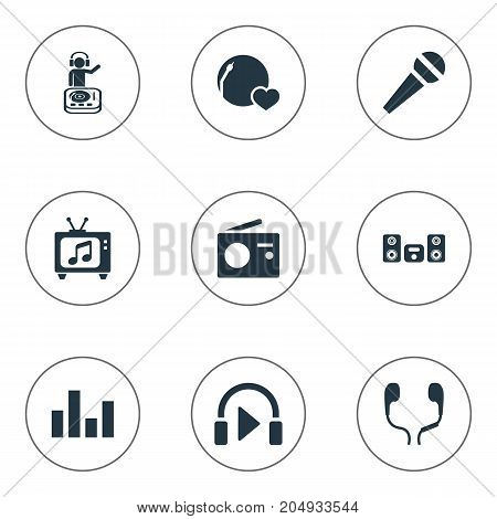 Elements Broadcast, Stabilizer, Listen And Other Synonyms Television, Broadcast And Megaphone.  Vector Illustration Set Of Simple Sound Icons.