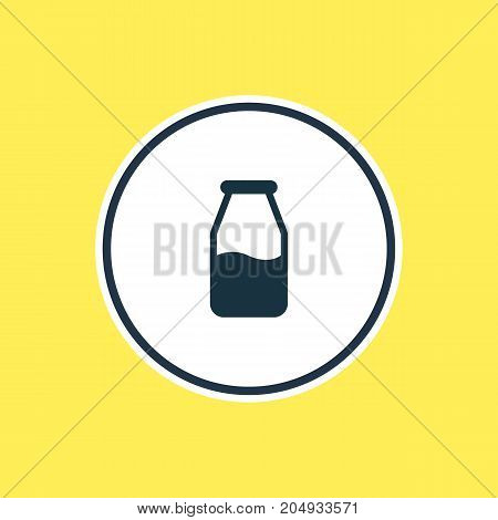 Beautiful Meal Element Also Can Be Used As Cruet Element.  Vector Illustration Of Milk Bottle Outline.