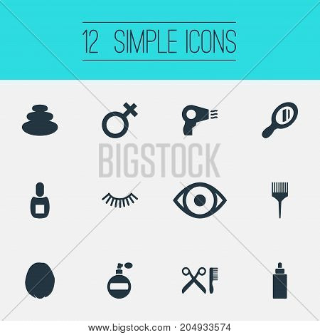 Elements Bottle, Woman Symbol, Serum And Other Synonyms Haircut, Optical And Eyelashes.  Vector Illustration Set Of Simple Salon Icons.