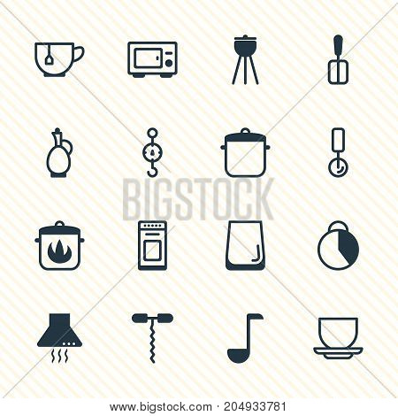 Editable Pack Of Cooking Spade, Timekeeper, Soup Spoon And Other Elements.  Vector Illustration Of 16 Kitchenware Icons.