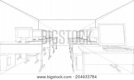 Computer class with tables and computers. Vector illustration rendering of 3d