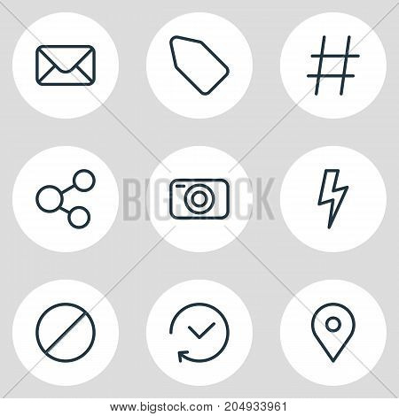 Editable Pack Of Flash, Letter, Photo Apparatus And Other Elements.  Vector Illustration Of 9 Application Icons.