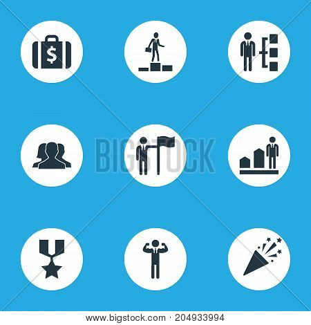 Elements Successful Person, Success, Money Suitcase And Other Synonyms Increase, Man And Sparkle.  Vector Illustration Set Of Simple Success Icons.