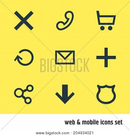 Editable Pack Of Downward, Wheelbarrow, Publish And Other Elements.  Vector Illustration Of 9 Interface Icons.