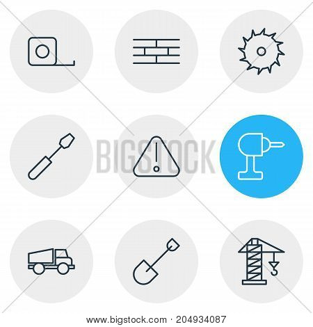 Editable Pack Of Measure Tape, Turn Screw, Road Sign And Other Elements.  Vector Illustration Of 9 Industry Icons.