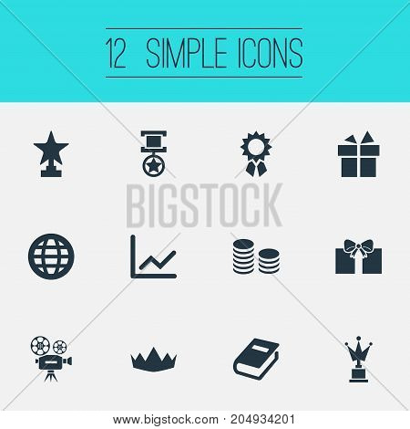 Elements Currency, Statistic, Victory And Other Synonyms Diagram, Camera And Reward.  Vector Illustration Set Of Simple Reward Icons.